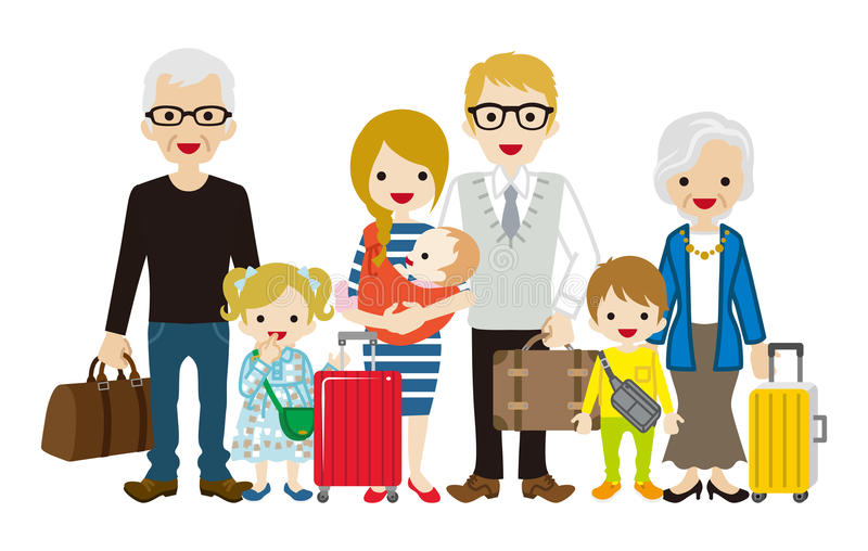 Família de viagem da Multi-geração - Caucasian ilustração royalty free