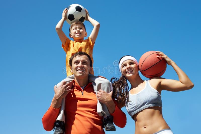 Família desportiva fotografia de stock