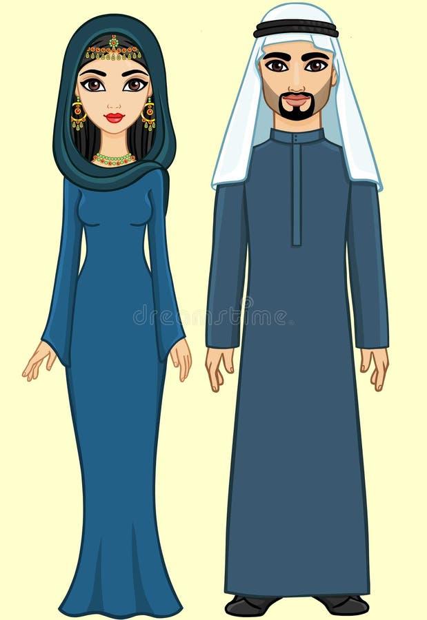 Família do árabe da animação ilustração stock