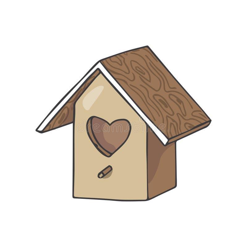 A família do amor da ilustração do vetor do aviário oferece do telhado de madeira home geométrico similar da caixa do cosiness da ilustração royalty free