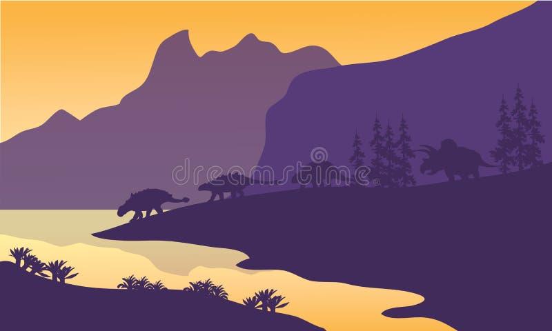 Família do Ankylosaurus da silhueta ilustração do vetor