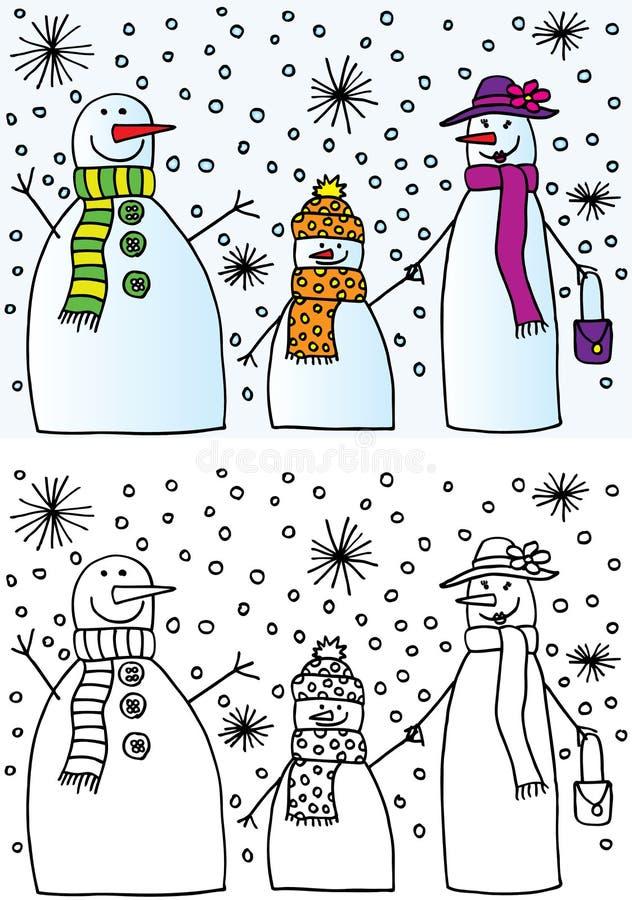 Família do boneco de neve ilustração do vetor