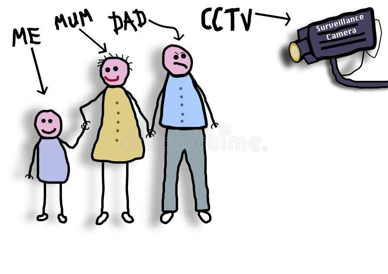 Família do CCTV ilustração do vetor