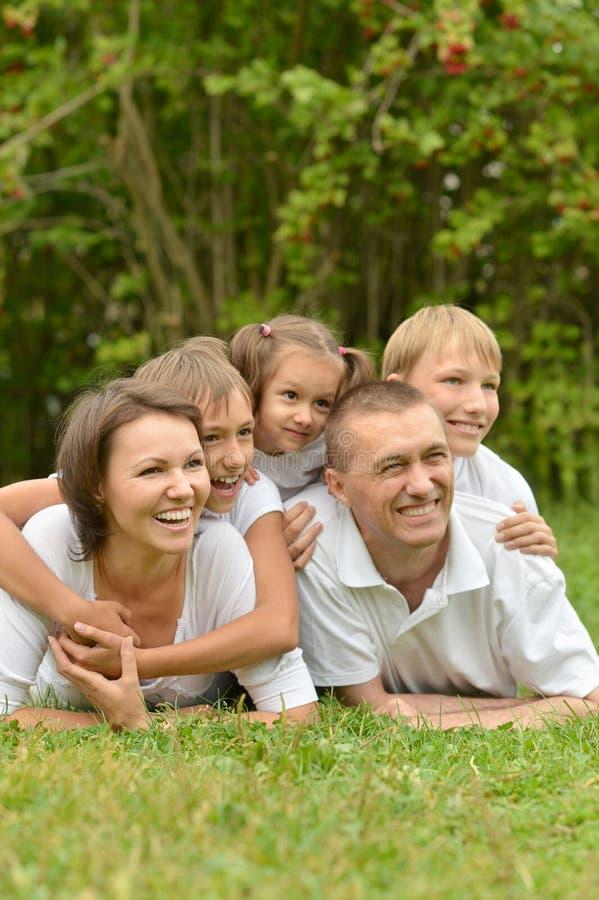 Família do chá cinco bebendo imagem de stock royalty free