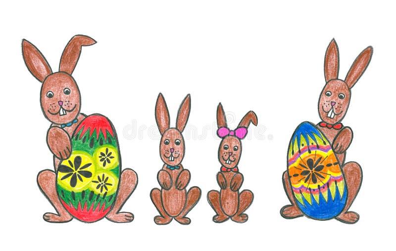 Família do coelho de Easter com ovos de easter ilustração royalty free