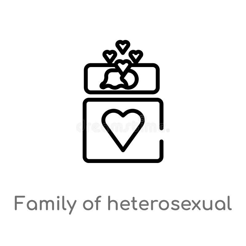 família do esboço do ícone heterossexual do vetor dos pares linha simples preta isolada ilustração do elemento do conceito dos po ilustração stock