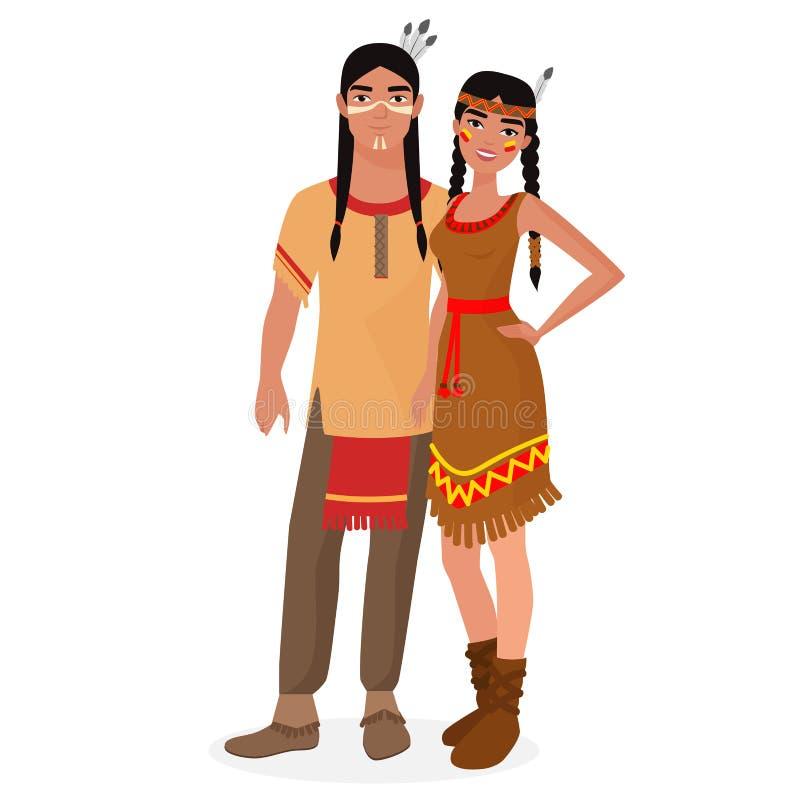 Família do indiano do nativo americano Indianos americanos homem e pares da mulher na roupa nacional tradicional ilustração do vetor