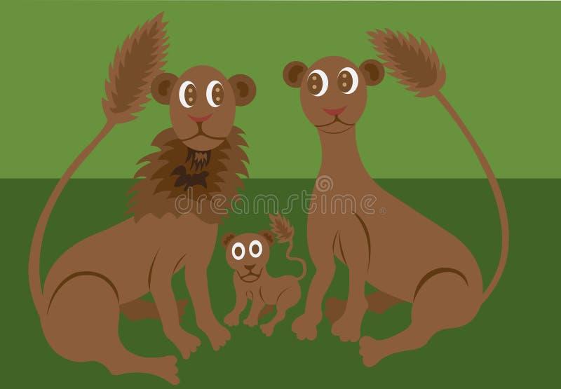 Família do leão que encontra-se na grama ilustração royalty free