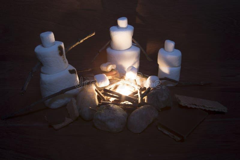 Família do marshmallow que faz costumes do ` de s sobre a fogueira fotografia de stock