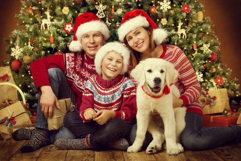 Família do Natal com cão, retrato feliz da criança da mãe do pai fotografia de stock royalty free