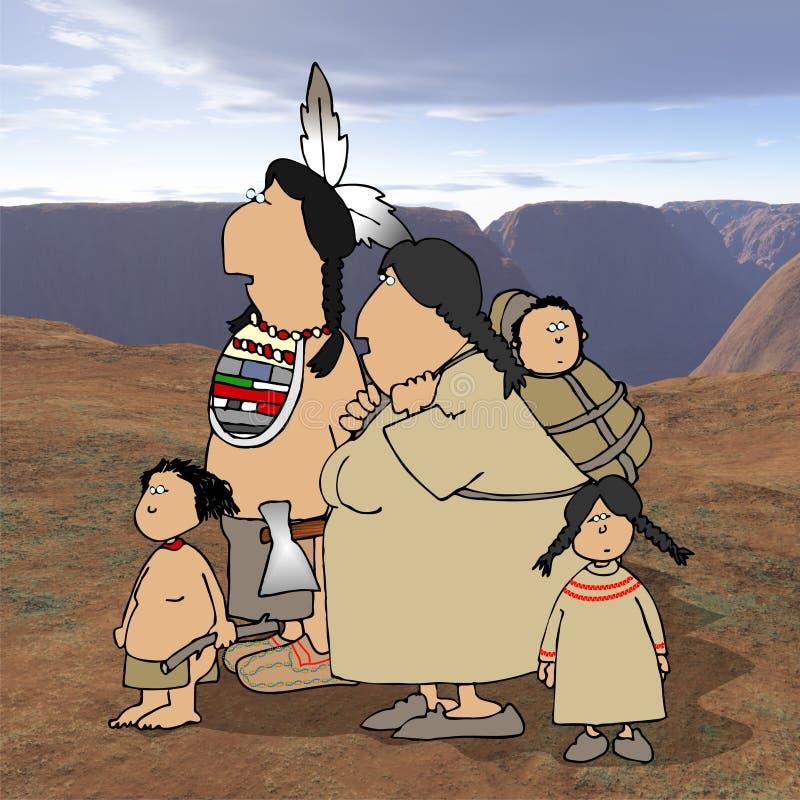 Família do nativo americano com fundo do deserto ilustração royalty free