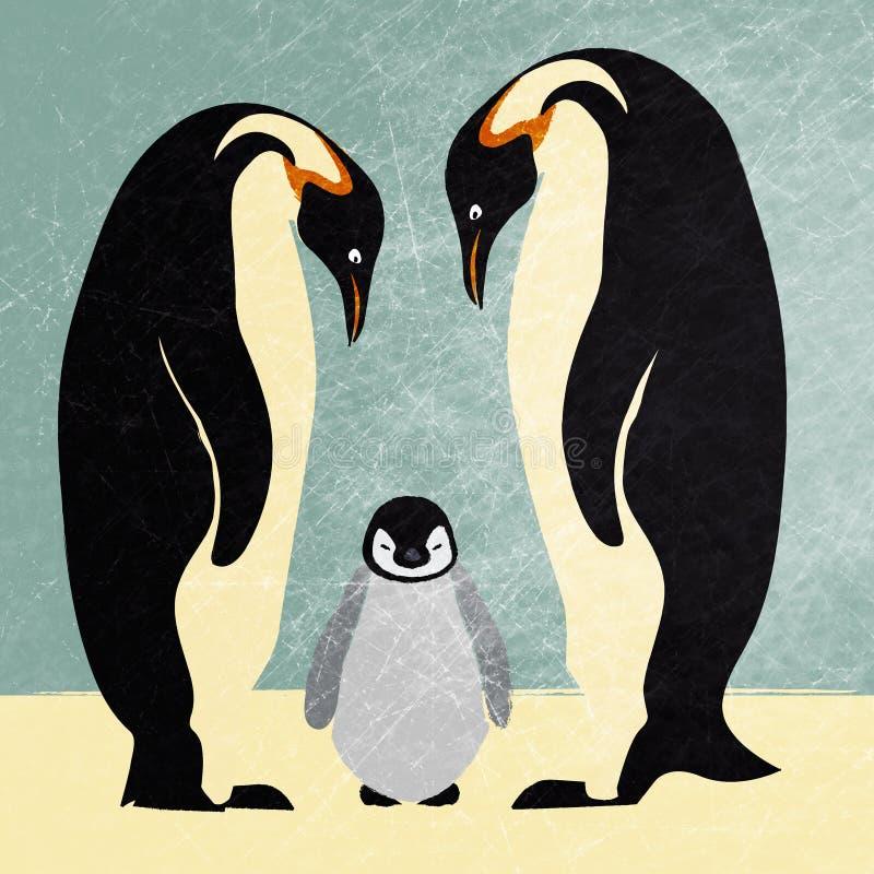 Família do pinguim de imperador ilustração royalty free