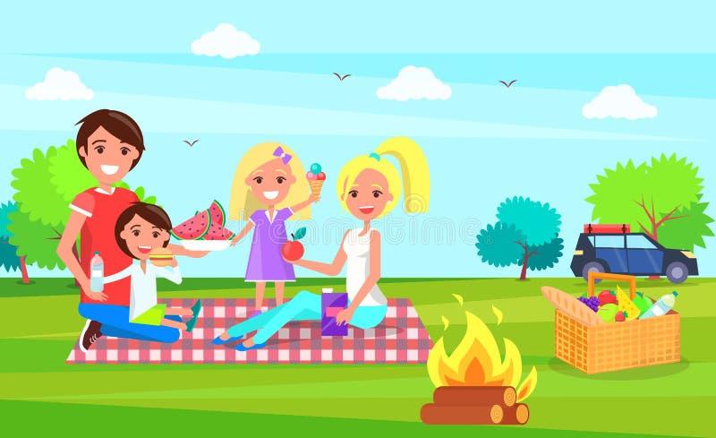 Família do piquenique que senta-se no pano que come a melancia ilustração royalty free