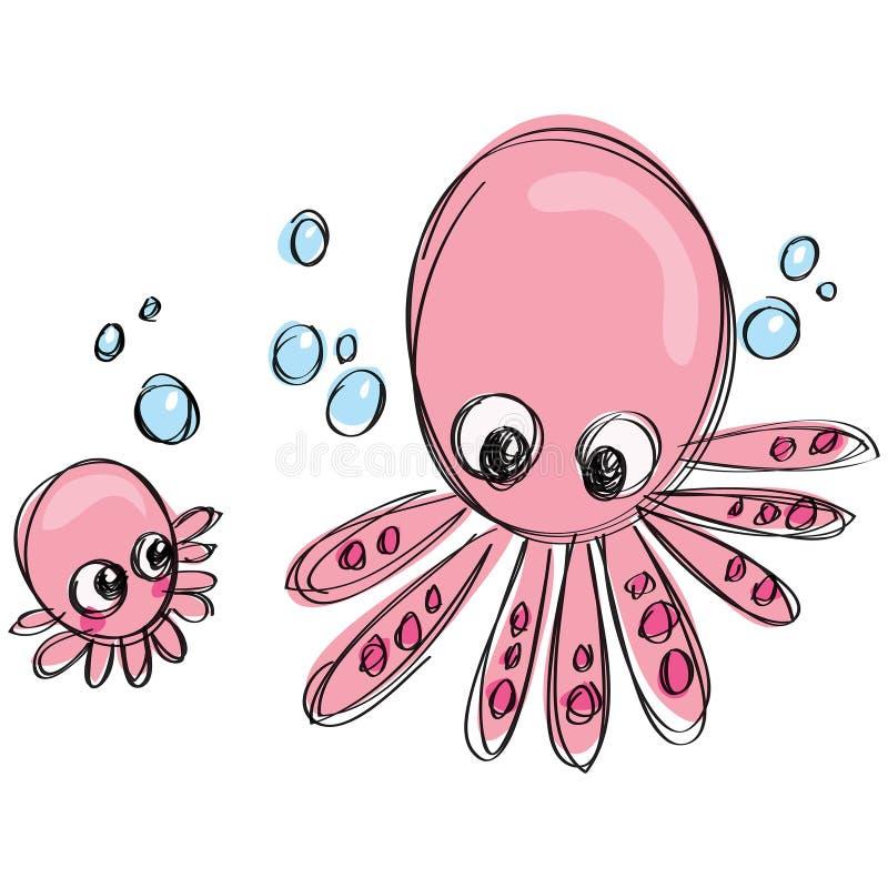 Família do polvo dos desenhos animados em um estilo criançola do desenho da garatuja do naif ilustração stock