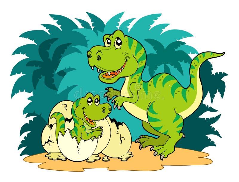 Família do rex do Tyrannosaurus ilustração stock