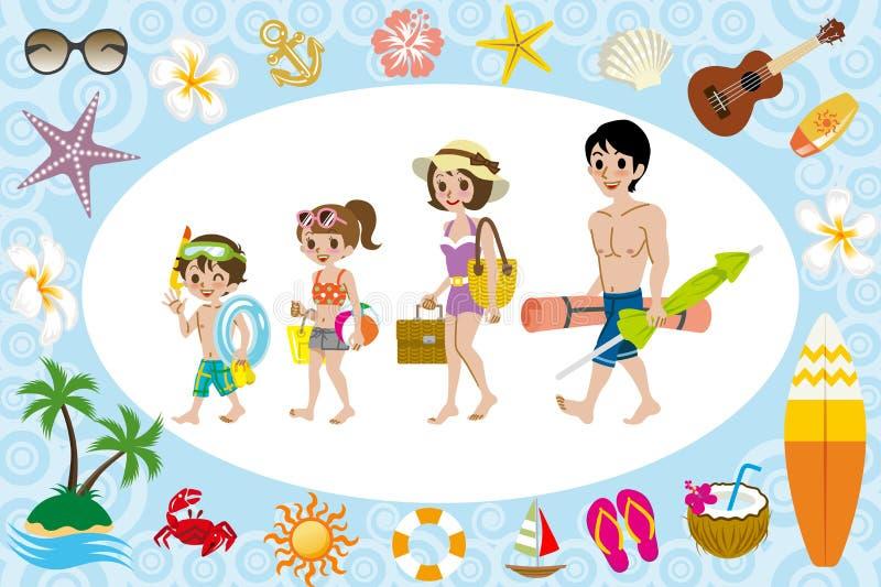 Família do roupa de banho e ícone do mar ilustração royalty free