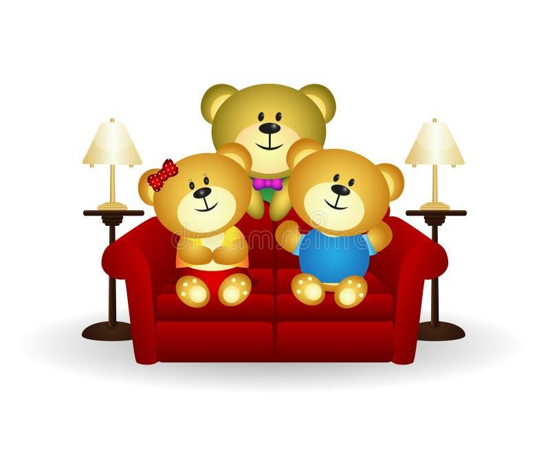 Família do urso no sofá ilustração do vetor