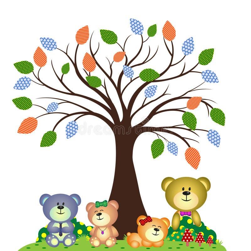 Família do urso que joga no parque ilustração do vetor