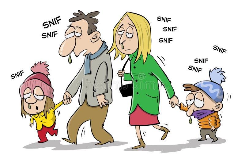 Família doente do filho e da filha da mãe do pai ilustração stock