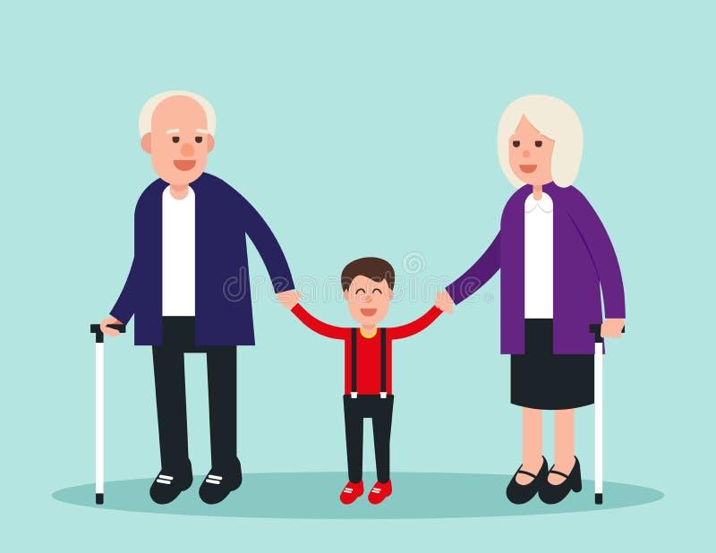 Família Dois idosos com neto Ilustração idosa do vetor do conceito Caráter liso do projeto ilustração royalty free