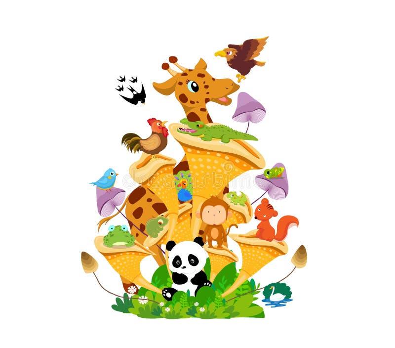 Família dos animais na terra Desenhos animados e cena engraçados ilustração do vetor