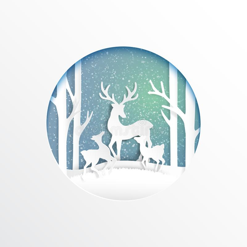 Família dos cervos alegre na estação do inverno ilustração stock