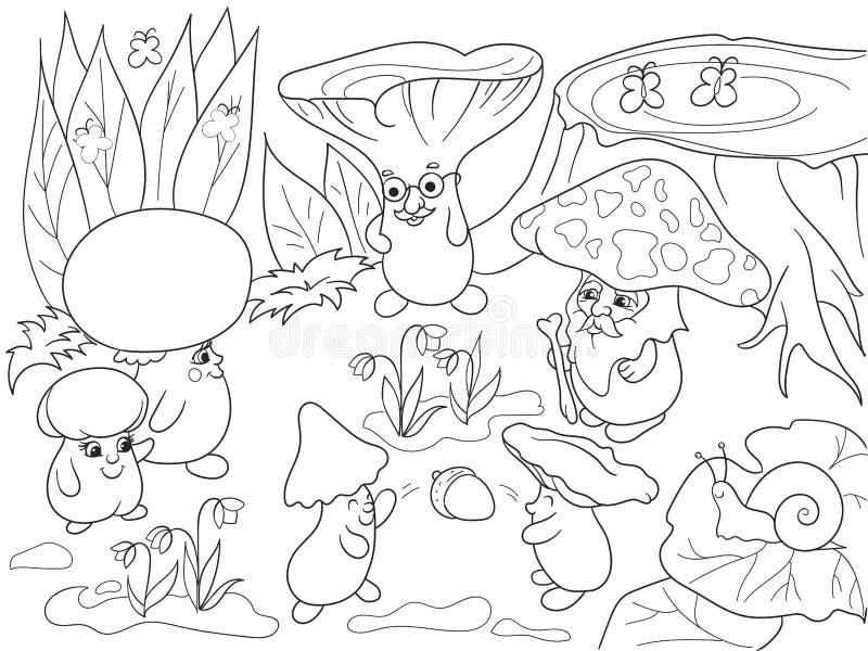 fam u00edlia dos cogumelos no livro para colorir da floresta para a ilustra u00e7 u00e3o do vetor dos desenhos