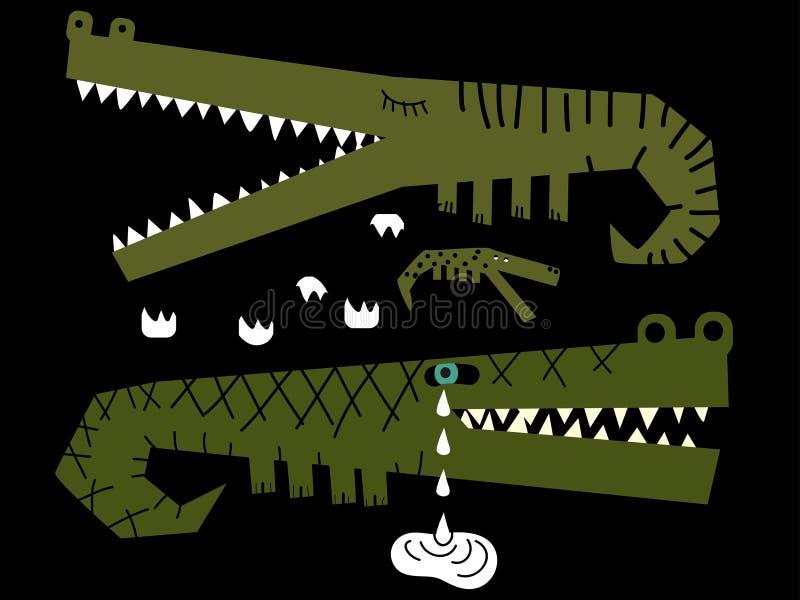 Família dos crocodilos onde um deles gritos ilustração do vetor