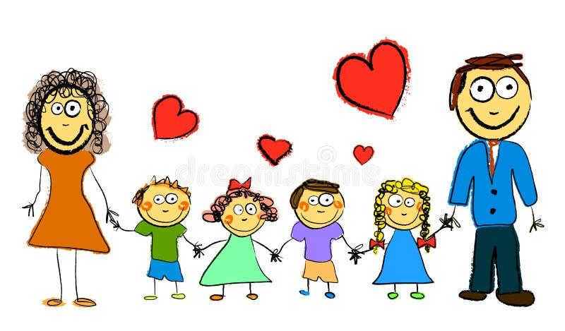 Família dos desenhos animados ilustração royalty free