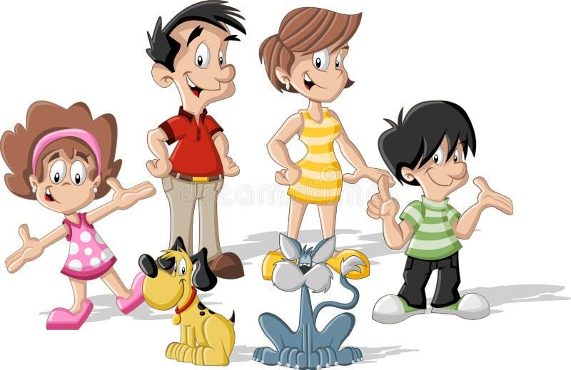 Família dos desenhos animados ilustração do vetor