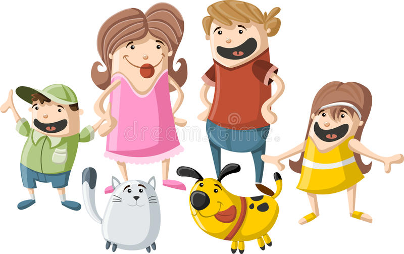 Família dos desenhos animados com animais de estimação ilustração royalty free