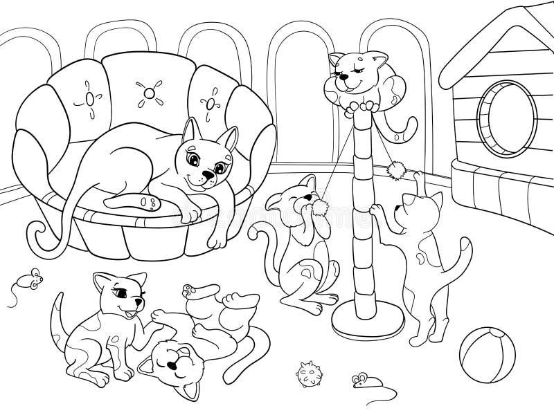 Família dos desenhos animados do livro para colorir das crianças na natureza Gato da mamã e crianças dos gatinhos ilustração do vetor