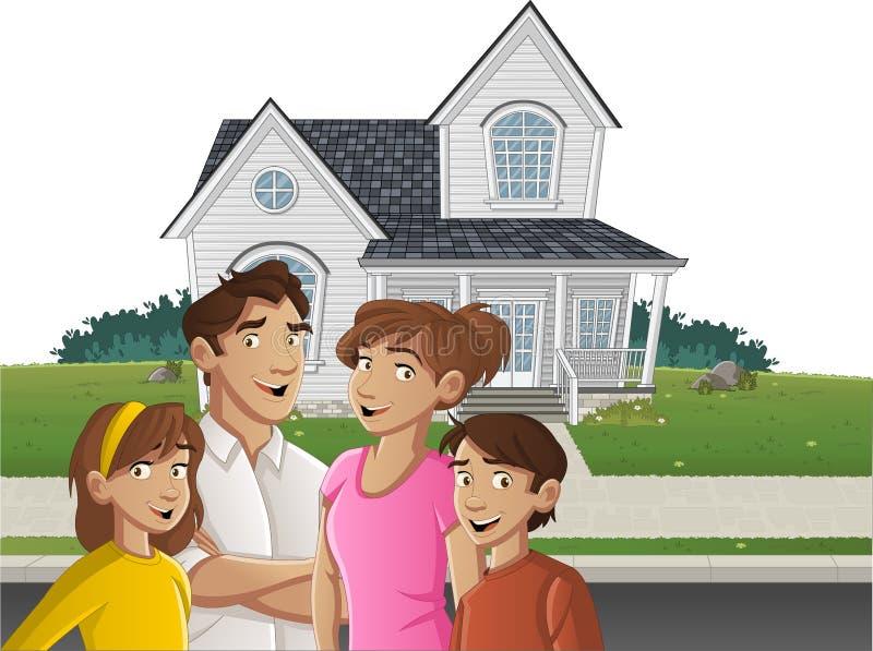 Família dos desenhos animados na frente de uma casa ilustração do vetor