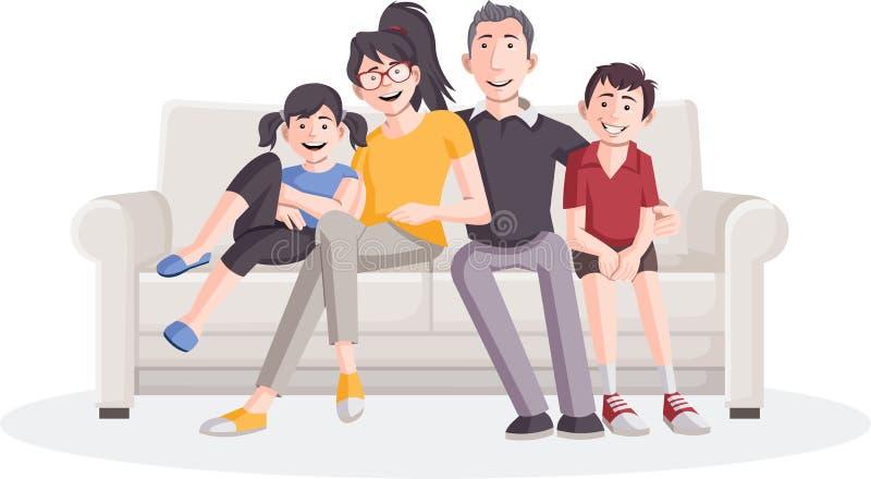 Família dos desenhos animados no sofá ilustração royalty free