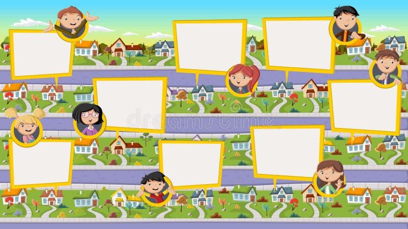 Família dos desenhos animados que fala com bolhas do discurso ilustração do vetor