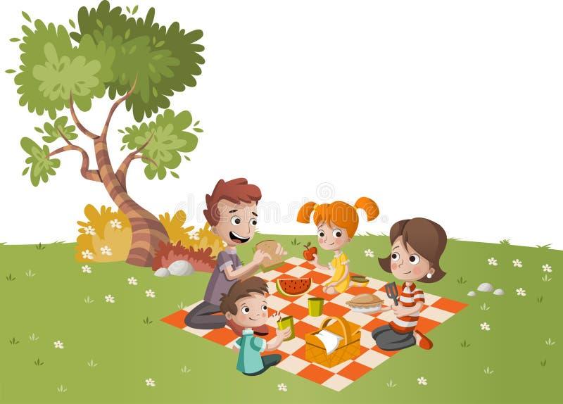 Família dos desenhos animados que tem o piquenique no parque em um dia ensolarado ilustração do vetor