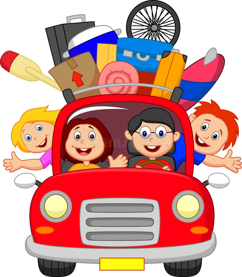 Família dos desenhos animados que viaja com carro ilustração do vetor