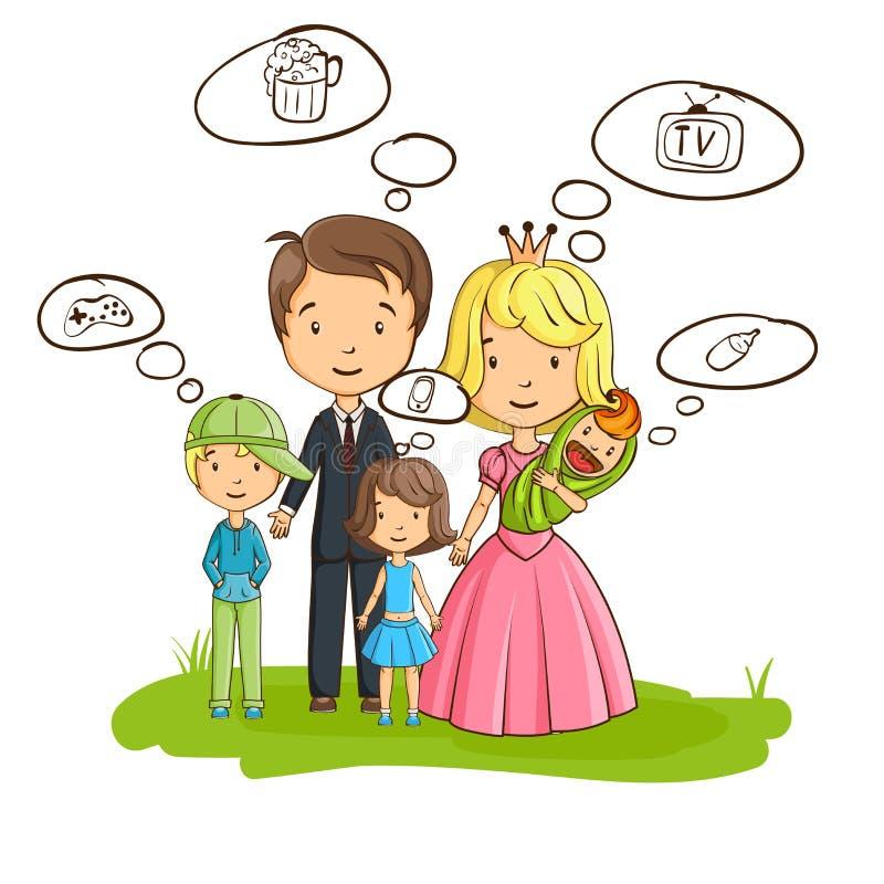 Família dos desenhos animados, todos pensando sobre seus próprios interesses ilustração royalty free