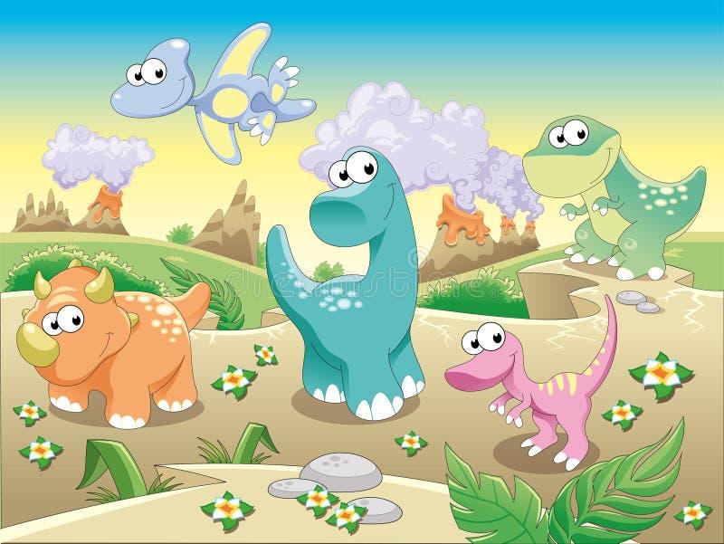 Família dos dinossauros com fundo. ilustração stock