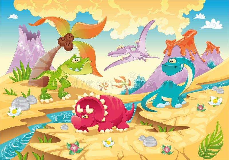 Família dos dinossauros com fundo. ilustração do vetor