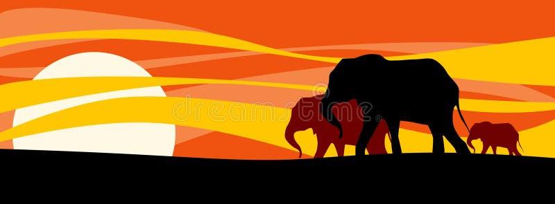 Família dos elefantes ilustração do vetor
