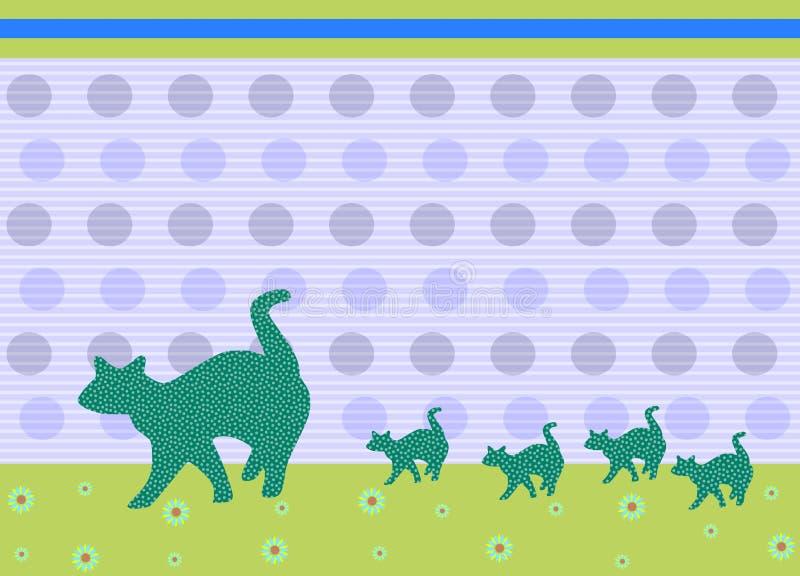 Família dos gatos ilustração royalty free