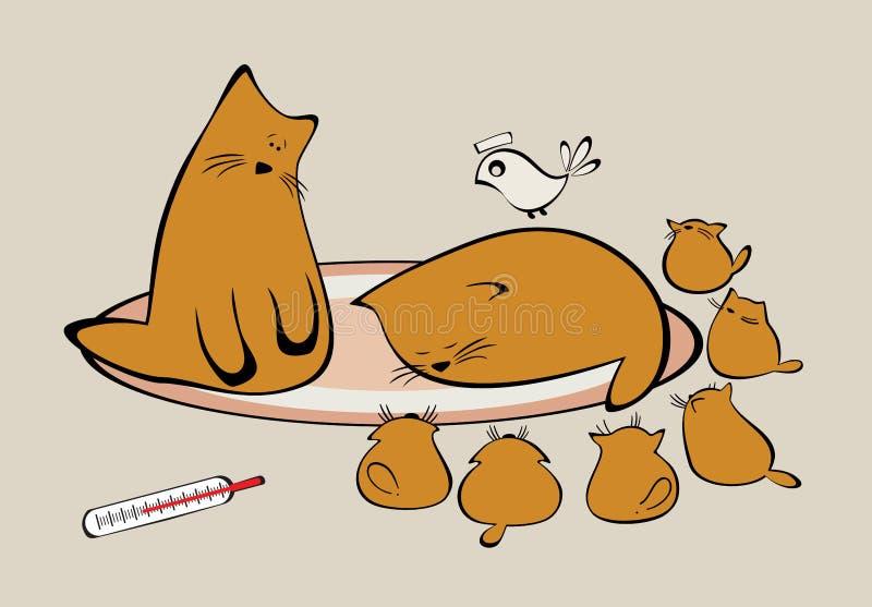 Família dos gatos com gatinhos ilustração do vetor