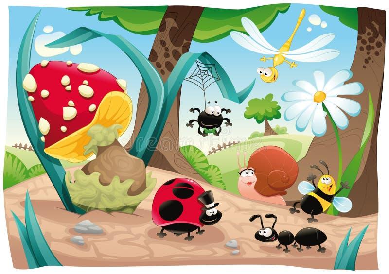 Família dos insetos na terra. ilustração do vetor
