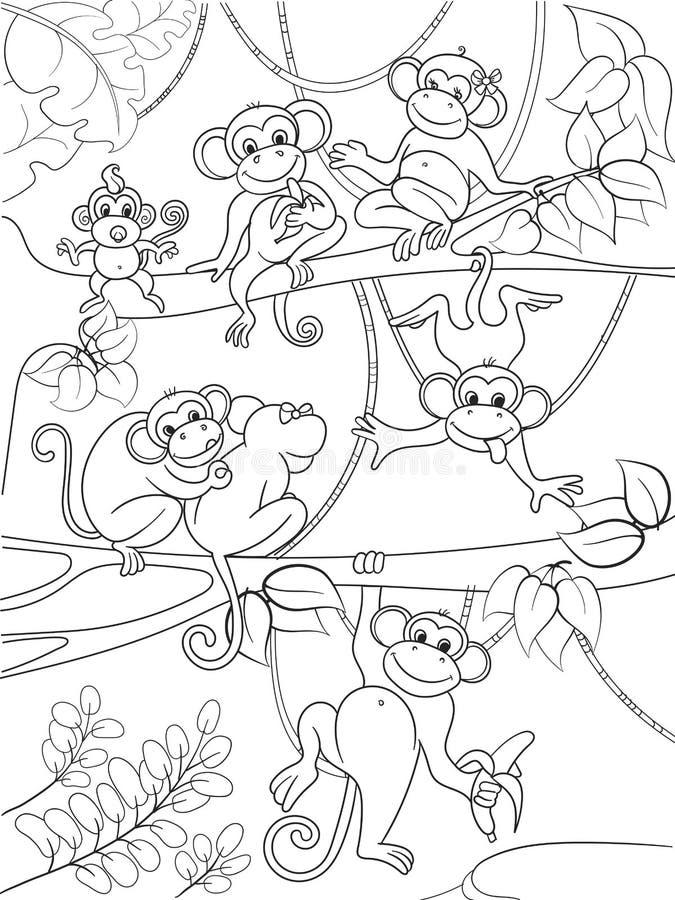 Família dos macacos em um livro para colorir da árvore para a ilustração do vetor dos desenhos animados das crianças ilustração stock