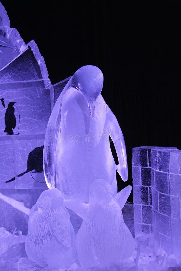 Família dos pinguins feitos do gelo imagem de stock