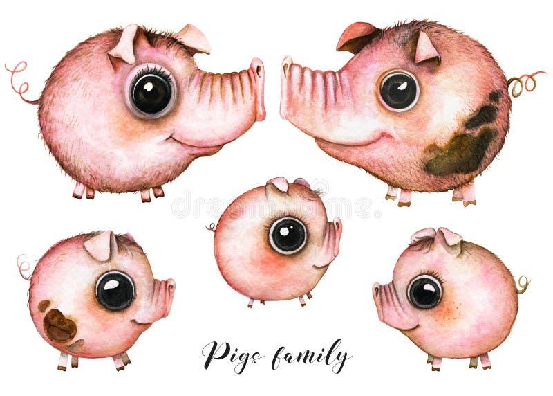 Família dos porcos do artoon do ¡ de Ð ilustração do vetor