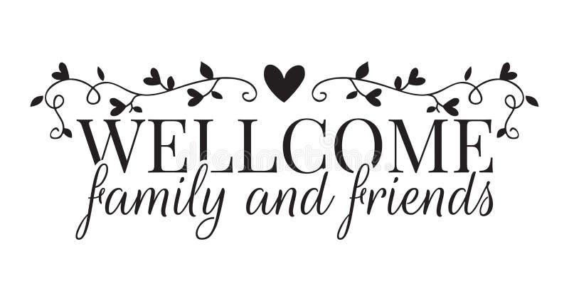 Família e amigos bem-vindos, decalques da parede, exprimindo o projeto ilustração royalty free