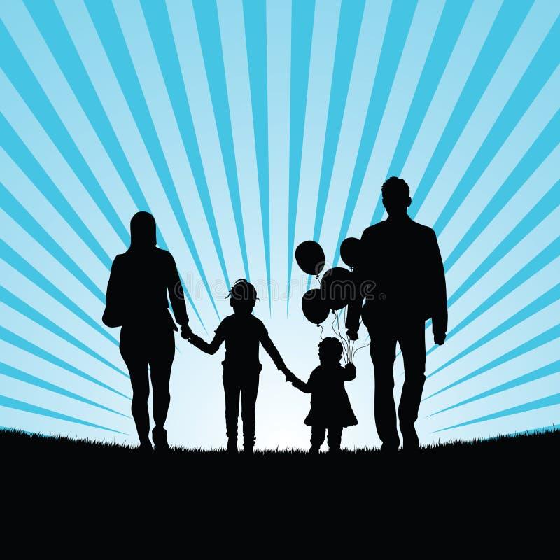 A família e as crianças felizes com balão mostram em silhueta a ilustração ilustração stock