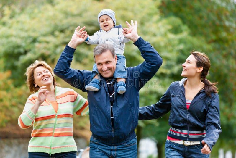 Família e avós de sorriso no campo imagens de stock